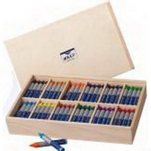 Набор восковой пастели Creall Waxy Havo, 144 шт (12цв.х12шт) в дерев.ящике