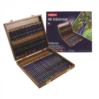 """Набор  подарочный """"Derwent Inktense""""  в деревянном ящике / 48 шт."""