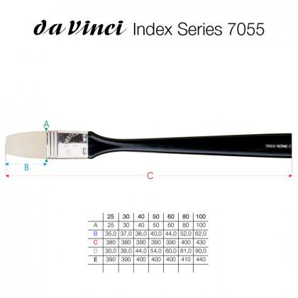 Кисть плоская Da Vinci 7055/щетина/черная длинная плоская ручка/№25