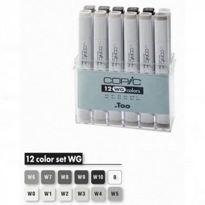 """Набор маркеров  """"COPIC""""  WG   (12 шт) в пластик. контейнере"""