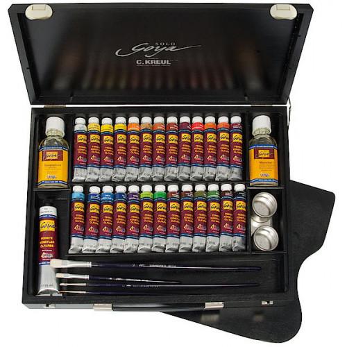 """Большой набор масляных красок """"Solo Goya Black Edition"""" в дерев.ящике, цвет - черный/26 цв., аксессуары"""