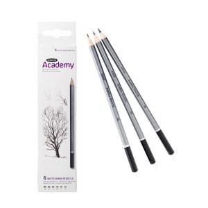 """Набор  карандашей для набросков """"Academy"""" 3B-2H/6шт. в блистере"""
