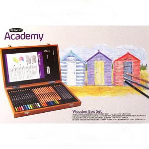"""Набор  подарочный """"Derwent Academy"""" в деревянном ящике / 30 шт. + аксессуары"""