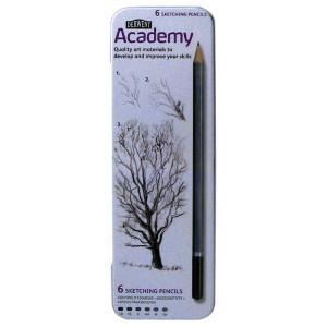 """Набор  карандашей для набросков """"Academy"""" 3B-2H/6шт. в метал. кор."""