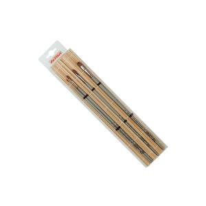Набор кистей Da Vinci с бамбук.подложкой/ ушной волос, колонок плоск./ 4 шт.