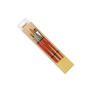 Набор кистей Da Vinci с бамбук.подложкой/ синт.кругл, плоск./ 4 шт.