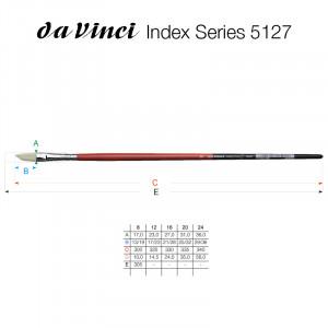 Кисть плоская скошенная Da Vinci 5127/отбел. щетина/№12