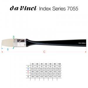 Кисть плоская Da Vinci 7055/щетина/черная длинная плоская ручка/№80