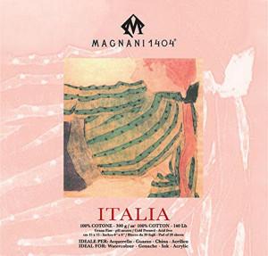 Блок ITALIA для акварели 15*15 см 300 г/м, 20 листов, 100 % хлопок