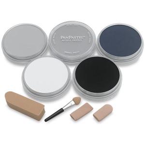 Набор ультрамягк. пастели PanPastel, 5цв., 4 насадки для мастихина Starter/серые тона