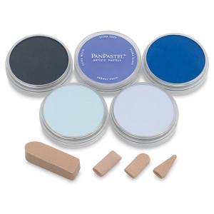 Набор ультрамягк. пастели PanPastel, 5цв., 4 насадки для мастихина Starter/голубые тона