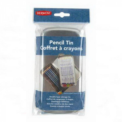 """Пенал металлич.""""Pencil Tin"""" для карандашей, 2-х уровневый, пустой"""
