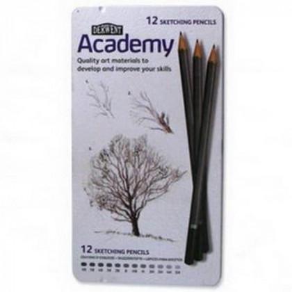 """Набор  карандашей для набросков """"Academy"""" 6B-5H /12шт. в метал. кор."""