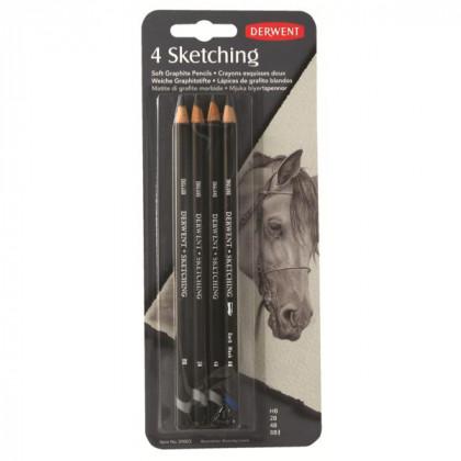 """Набор  графитных каранд. """"Sketching Pencils""""  /4шт в блистере"""