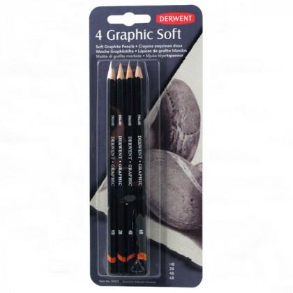"""Набор  графитных каранд. """"Graphic Soft"""" /4шт в блистере"""