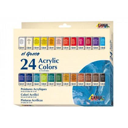 Набор акриловых красок El Greco, 24 цвета по 12 мл.