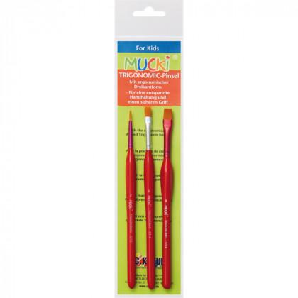 Набор кистей 3 шт Mucki с эргономичной ручкой, плоские 6, 8, круглая 2